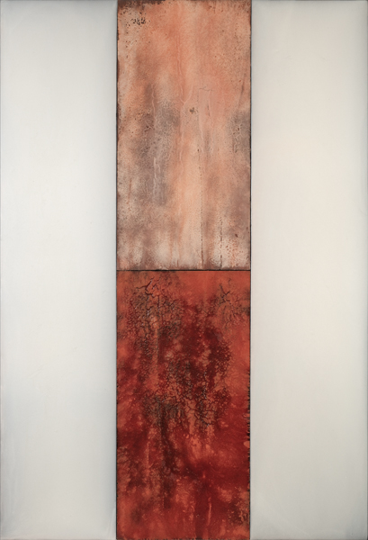 """Dale Lindman, """"First Frost"""", 2016, encaustic on birch panels, 96 3/8"""" x 66"""""""