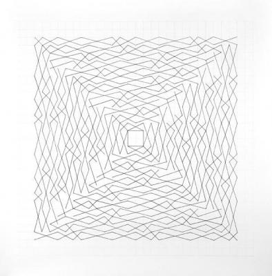 "Chris Watts, ""Linear Link, Two Spirals, Grid 26 x 26"", pencil and ink on paper, 36 x 36"" image"