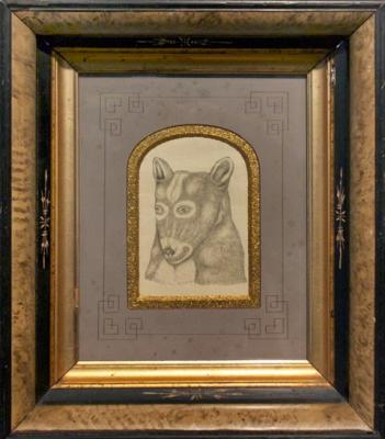 "Fred Stonehouse, ""Untitled (Dog 1)"", 2013, graphite on paper, 13.75 x 12"" framed"