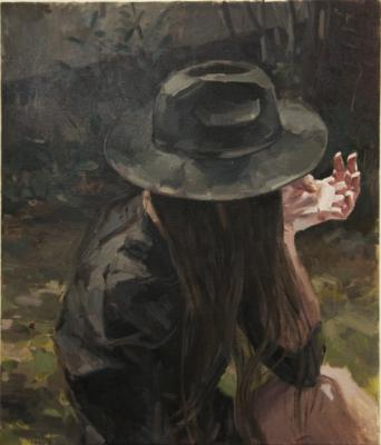 """Girl with the Hat"", 2014, oil on canvas, 26"" x 22"""