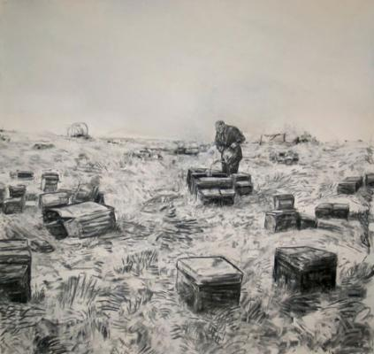 "David Bailin, ""Belongings"", 2008, charcoal on paper"