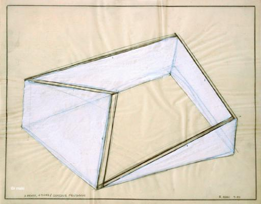 "Robert Maki, ""3 Bends, 4 Sides/Concave Penatgon, 1984, wash on vellum"