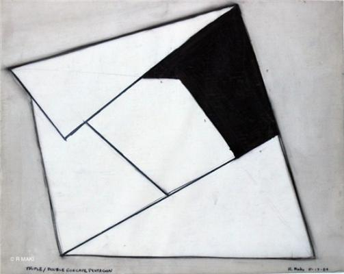 "Robert Maki, ""Triple/Double, Concave Pentagon"", 1984, graphite on vellum"