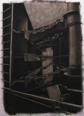 "Evelyn Woods, ""Chain Gang"", 2011, charcoal on paper"