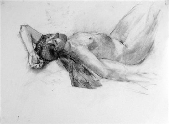"Kimberly Trowbridge, ""Female (reclined)"", 2010, charcoal on paper"
