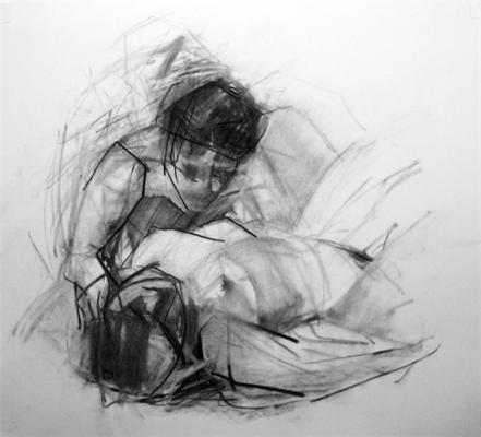Kimberly Trowbridge, Lovers (Nymph & Sadyr), 2011, charcoal on pape