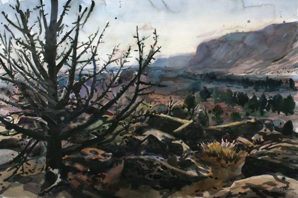 """Henk Pander, """"Scorched Earth, Miller Homestead, Fire"""", 2012, watercolor, 40x60"""""""
