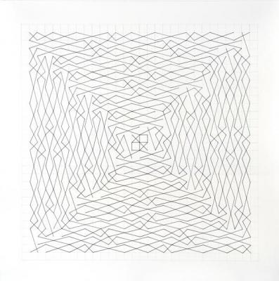 "Chris Watts, ""Linear Link, Two Spirals, Grid 28 x 28"", pencil and ink on paper, 36 x 36"" image"