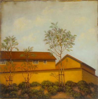 """Home"", 2007, oil & gold leaf on panel, 6 x 6"""