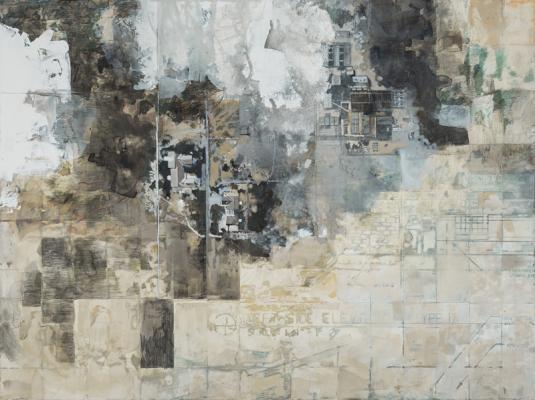 "Michelle Muldrow,  ""Blueprint/Imprint"", 2016, casein, graphite on kaolin clay panel, 16"" x 20"""
