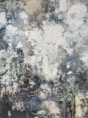"""Michelle Muldrow,  """"Locater/Location"""", 2016, casein, graphite on kaolin clay panel, 40"""" x 30"""""""