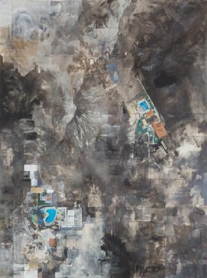 "Michelle Muldrow, ""Search Markers"", 2016, casein, graphite on kaolin clay panel, 40"" x 30"""