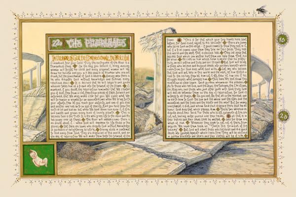 "Sandow Birk, ""American Qur'an: Sura 22A"", 2011, ink, acrylic & gouache on paper, 16"" x 24"" image"