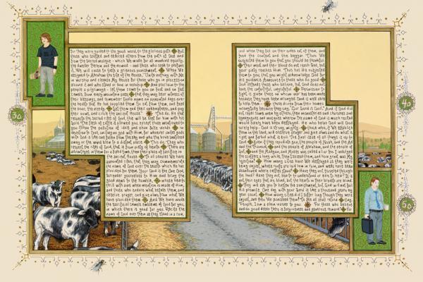 "Sandow Birk, ""American Qur'an: Sura 22B"", 2011, ink, acrylic & gouache on paper, 16"" x 24"" image"