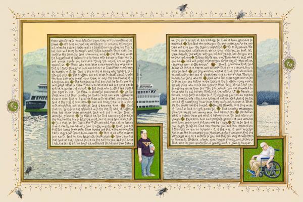 "Sandow Birk, ""American Qur'an: Sura 22C"", 2011, ink, acrylic & gouache on paper, 16"" x 24"" image"