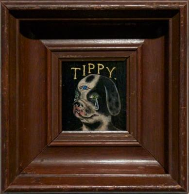 "Fred Stonehouse, ""Tippy"", 2013, acrylic on panel, 7.5 x 8"" framed"