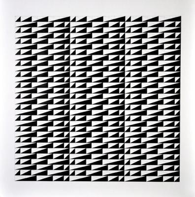 "Chris Watts, ""Four Triangles, Link, Horizontal Grid, 30 x 30"", 2013, acrylic & pencil on paper, 36 x 36"" image"
