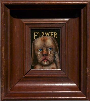 "Fred Stonehouse, ""Flower"", Fred Stonehouse, 2013, acrylic on panel, 7.5 x 8"" framed"