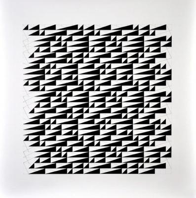 """Chris Watts, """"Five Triangles, Link, Horizontal Grid, 27 x 27"""", 2013, acrylic & pencil on paper, 36 x 36"""" image"""