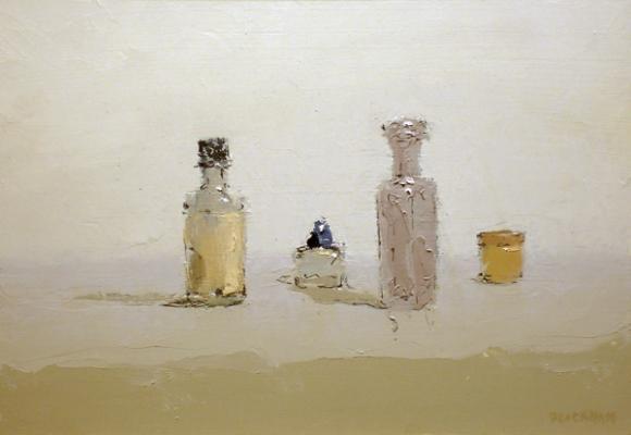 """Brian Blackham, """"Orange Jar with Lid"""", 2013, oil on panel, 7.25 x 10.25"""""""