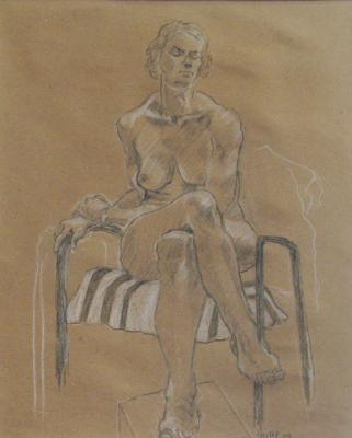 "Phillip Levine, ""Striped Cloth"", no date, charcoal on paper, 18.5 x 12"""