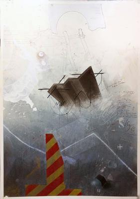 "Fred Birchman, ""A Mid Winter Climb"", 2015, mixed media"