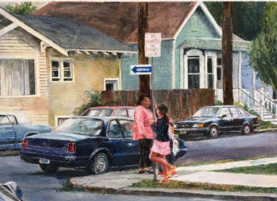 "Sally Cleveland, ""A Visit to the Old Neighborhood II"", 2016, oil on paper, 7"" x 9.5"""