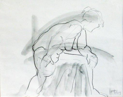 "Phillip Levine, ""Action"". 2009, graphite & wash on paper, 11 x 14"" image"
