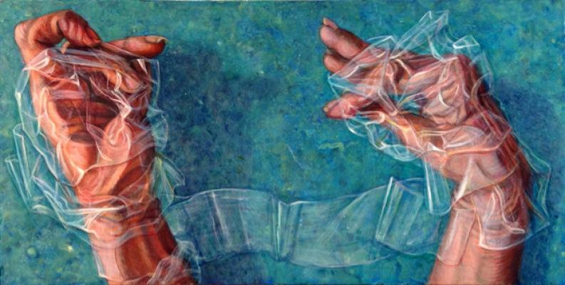 "Riva Lehrer, ""Adhesion"", 2016, acrylic on panel, 6 x 12"""