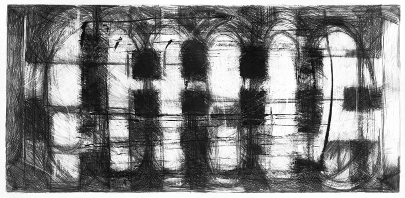"""Steve Costie, """"Aerial Large Format #1"""", 1992, graphite over photocopy on paper,"""