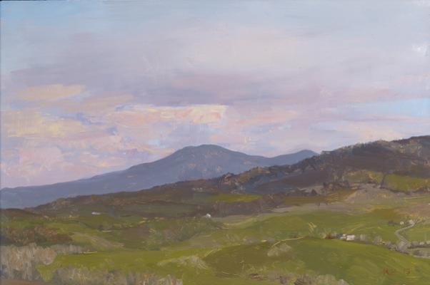 "Kenny Harris, ""Tuscany series: Mount Amiata"" 2013, oil on panel,8 x 12"""