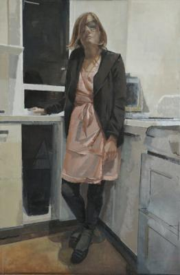 "Amy Huddleston, ""EB in the Kitchen"", 2015, oil on canvas, 44 x 29"""