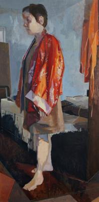 "Amy Huddleston, Figure in Red Robe"", 2014, oil on hardboard, 37 x 18.5"""
