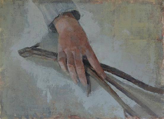 "Amy Huddleston, ""Hand with Twig Study"", 2015, oil on linen, 9 x 12"""