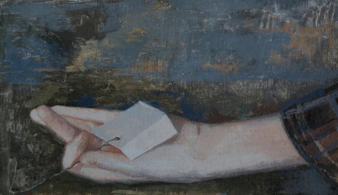 """""""Hand Study, Stephen's Note"""", 2015, casein on linen, 5 x 9"""""""
