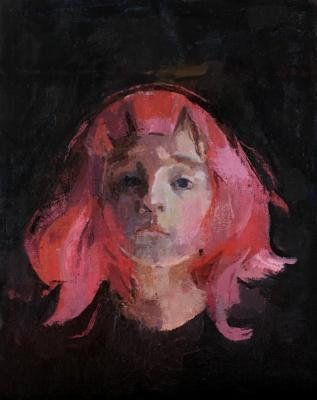 "Amy Huddleston, ""Pink Wig"", 2015, Oil on canvas board, 14"" x 11"""