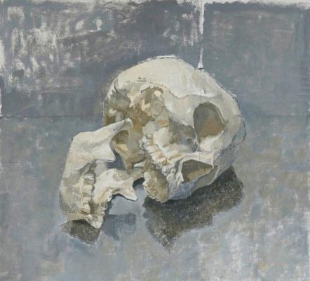 """Skull Study"", 2015, oil on linen, 14 x 15"""