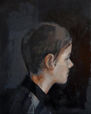 """Stephen, Profile"", 2015, oil on board, 10 x 8"""