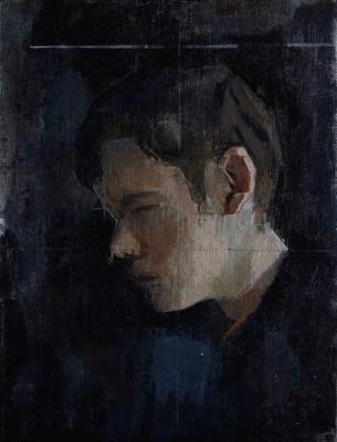 """""""Stephen, Profile #2"""", 2014, oil on canvas board, 9 x 12"""""""