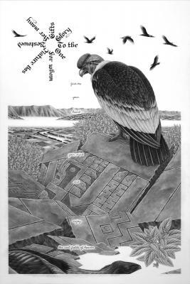 """Eric Beltz, """"Andean Condor"""", 2015, graphite on Bristol, 30"""" x 22"""" framed"""