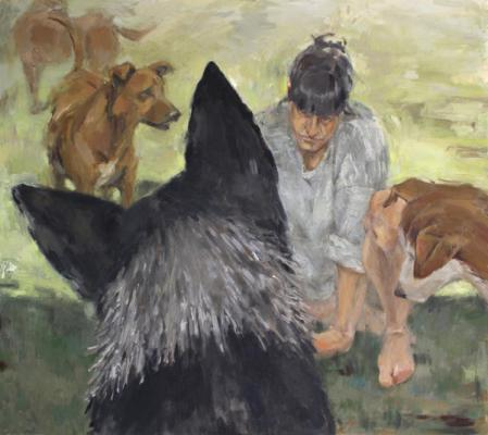 "Anne Petty, ""Pack Leader"", 2017, Oil on canvas, 32"" x 36"""