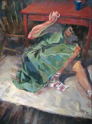 """Anne Petty, """"Under the Table"""", 2010, oil on canvas, 60 x 44"""""""