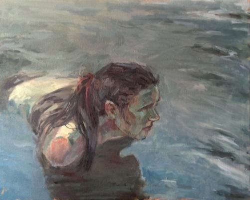 "Anne Petty, ""Fish Hunter"", 2016, oil on canvas, 24 x 30"""