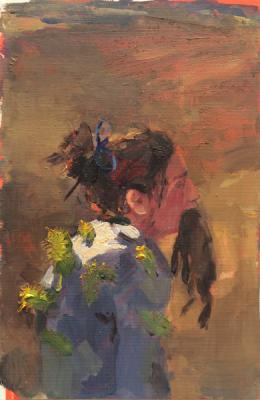 "Anne Petty, ""Post Hunt"", 2015, oil on paper, 8.5"" x 5.5"""