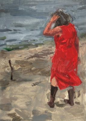 """Anne Petty, """"Conversation with a Stick"""", 2017, oil on vellum, 15"""" x 12"""" framed"""