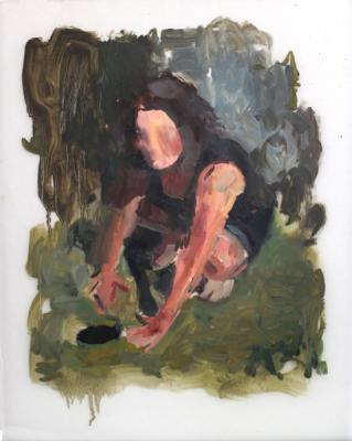 """Hole"", 2015, oil on vellum, 14"" x 11"""