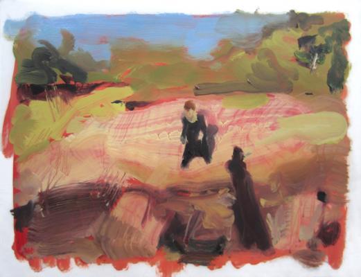 "Anne Petty, ""Lone Ranger"", 2014, oil on vellum, 9"" x 12"""