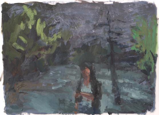 "Anne Petty, ""Midnight Walker"", 2014, oil on vellum, 9"" x 12"""