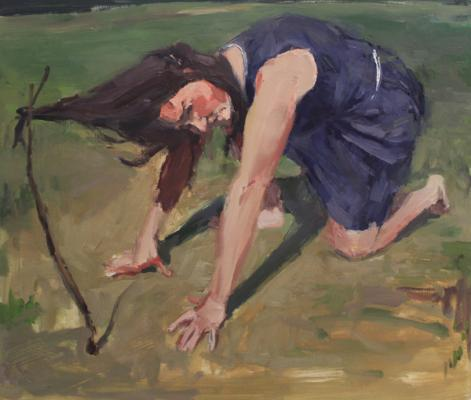 "Anne Petty, ""Pull"", 2016, oil on paper, 15"" x 17.5"""