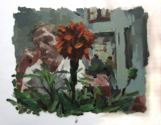 "Anne Petty, ""Red Flower"", 2013, oil on vellum, 11 x 8"""